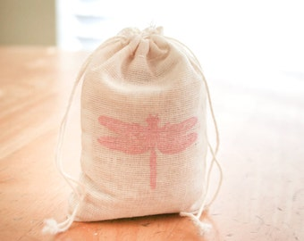 Dragon Fly muslin 6 cotton favor bag with stamp gift sack nature party wedding