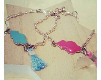 Little girl bracelet, enamel cloud tassel .channel link, lobster clasp