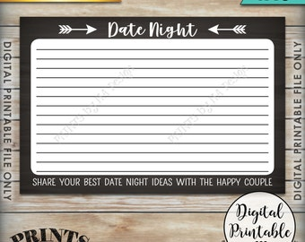 """Date Night Ideas printable cards, Date Night Cards, Date Idea Cards, Bridal Shower Activity Chalkboard Style PRINTABLE 4x6"""" Instant Download"""