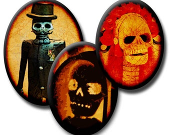 Spooky Calavera Skulls  – 40x30mm, 30x22mm, and 18x25mm Ovals – (3) Digital collage sheets