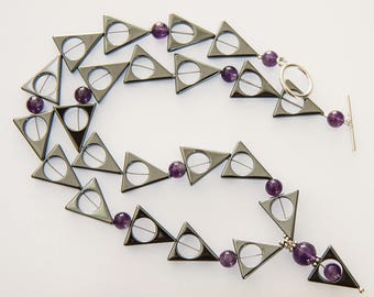 Hematite and Amethyst Necklace - Modern Geometric Design