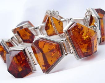 Amber Bracelet in Sterling Silver Sun Spangled Amber Modernist Contemporary Style