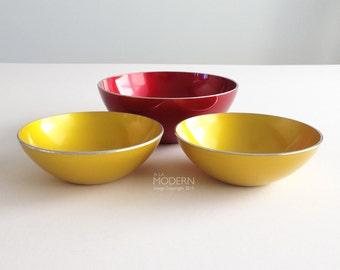 Emalox Norway Red And Yellow Enamel 3 Piece Bowl Set