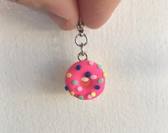 Progress Keeper. Donut Charm. Zipper Pull. Stitch Marker. Work in Progress. Knitting Marker. Crochet Marker. Removable Marker.