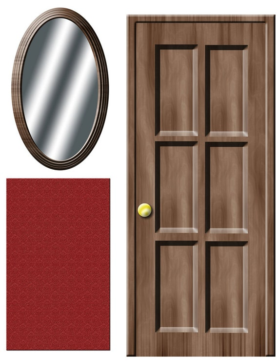 & DIGITAL DOWNLOAD Dollhouse decals wooden door and mirror with