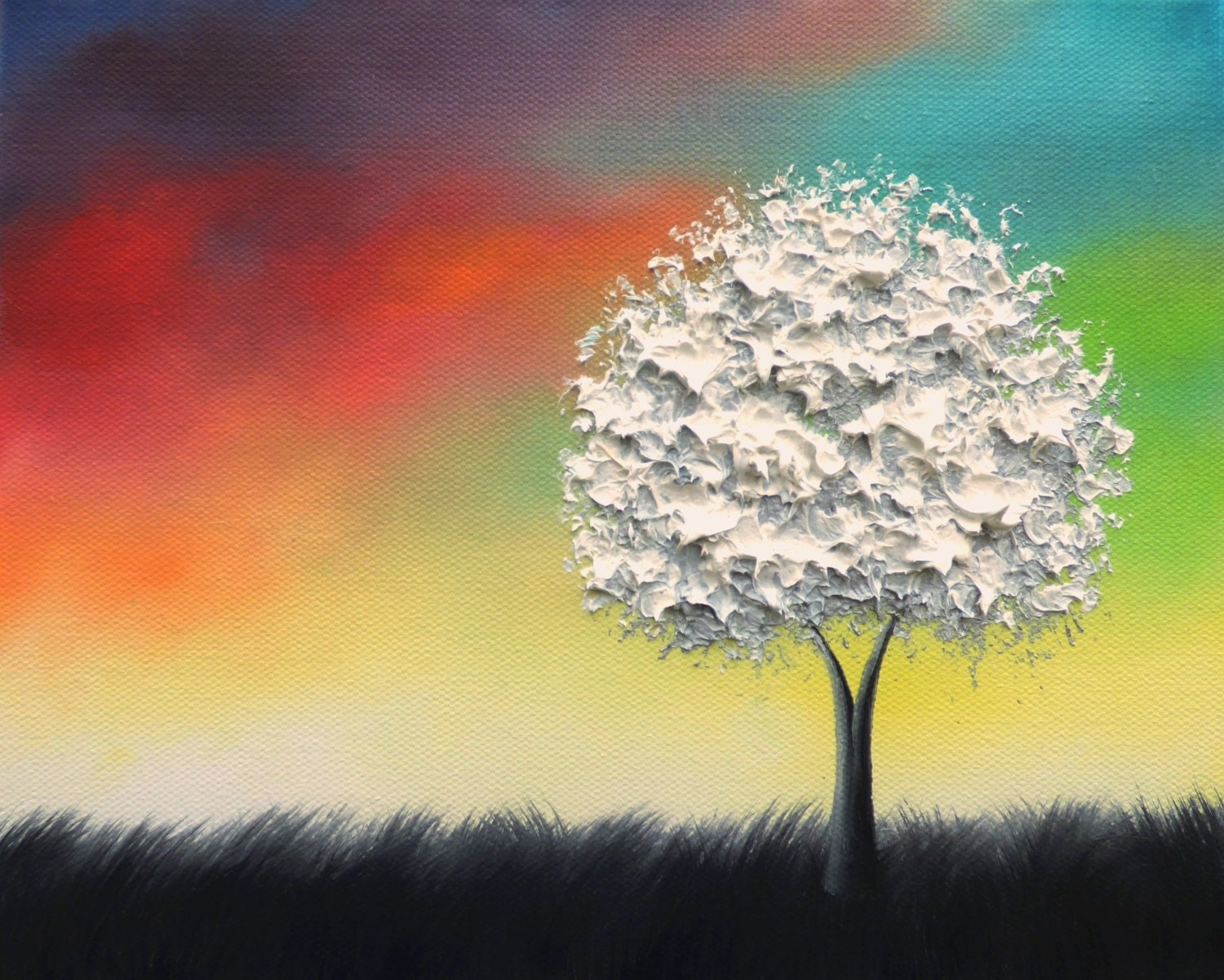 Colorful Wall Art Black and White Tree Art Print LIMITED