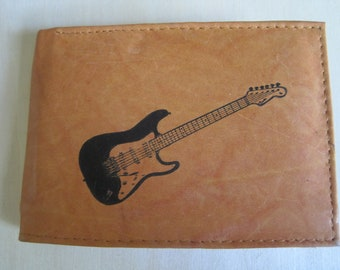 """Mankind Wallets Men's Leather RFID Blocking Billfold w/ """"Fender Stratocaster Electric Guitar"""" Image~Makes a Great Gift!"""