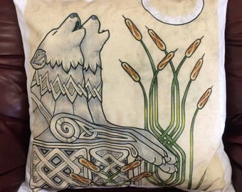 Celtic Wolves Cushion Cover