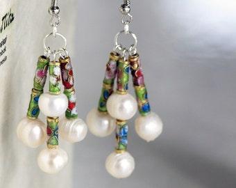 Asia Pearl Earring, Geisha Style Earring, Long Earring, Dangle Earring