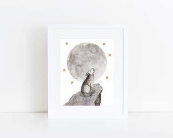 Grey Wolf / Original - Watercolor, Wolves, EcoFriendly, Eco, Green, Recycled, Gives Back, Wildlife Conservation, Moon, Stars