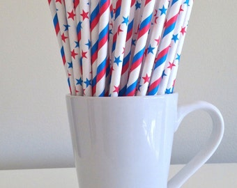 CLEARANCE 4th of July Party Straws Red, White, Blue Stars and Stripes Paper Straws July 4th Party Supplies Patriotic Fourth of July Bar Cart