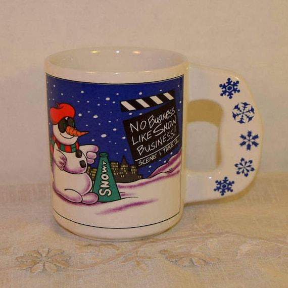 Snowman Mug Vintage Christmas Snowman Cup Snowflakes Coffee Cup Christmas Hot Chocolate Christmas Gift No Business Like Snow Business