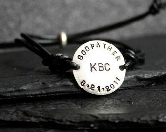 Godfather Sterling Silver and Leather Adjustable Bracelet