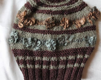 CAP, mixed green man or woman, hunting, 48 cm hand knitted