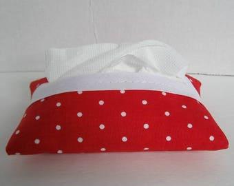 Tissue Holder Polka Dots - Red White Dots Tissue Cozy - Purse Tissue Cover - Pocket Tissue Case - Valentines Day - Fabric Tissue Holder