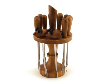 Fancy party accessories: 12 pricker / cocktail stick / pickle olive forks, appetiser, Escargot, olive wood stainless steel mouse, Stand