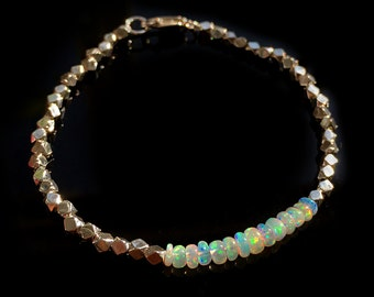 Silver Opal Bracelet, Genuine Ethiopian Fire Opal, 925 Sterling Silver Beads and Lobster Clasp, Minimal &Modern Bracelet, October Birthstone