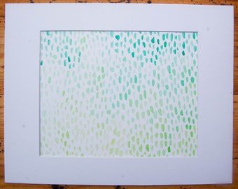 Dewy Moss 9x12 watercolor painting (matted to 8x10)