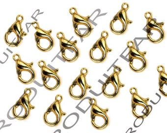 Set of 30 clasps color gold pendant necklace jewelry 12 mm lobster claws