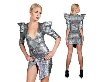 Deep V Dress, Sexy Dress, Evening Dress Short, Futuristic Clothing, Cocktail Dress, Holographic Clothing, High Slit Dress, Ziggy, LENA QUIST