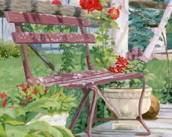 5 x 7 Summer Landscape bench flowers Giclee Reproduction