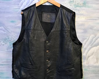 Soft Leather Vest Quality Mens Black Leather Vest XL Size.Mens Leather Waistcoat Brand OPAL Rocker Festival Country Biker Cowboy Style J2OutUu