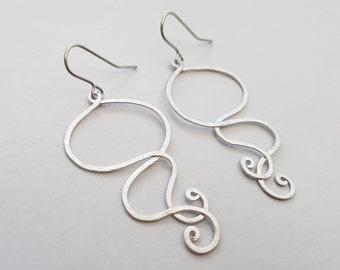 Matte Silver Swirl Earrings, Rustic Hammered Silver Earrings, Boho Earrings, Minimalist, Drop Earrings, Surgical Steel Ear Wires