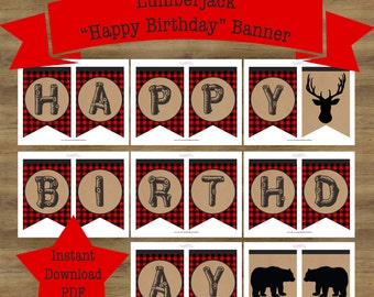Lumberjack Birthday Decorations; Lumberjack Birthday Banner;  Lumberjack First Birthday Banner; Lumberjack Birthday Party; Lumberjack Banner