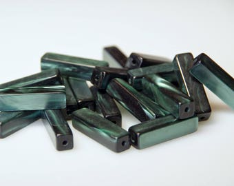50 PCs. Large vintage moonglow lucie rectangle beads 30 mm dark green new from old stock beads beading Supplies