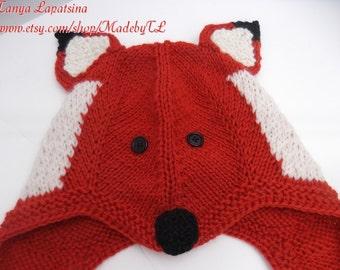 Fox Ear Flap Hat, Hand Knit Fox Hat, Children Fox Hat, Children Ear Flap Fox Hat