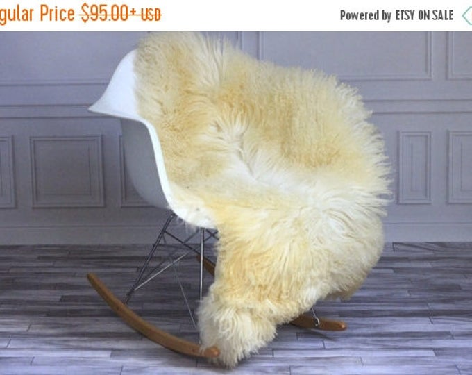ON SALE Exclusive collection Genuine Ivory Gotland Breed SHEEPSKIN Rug, Pelt, Chair Cover, Throw Scandinavian Style Curly fur