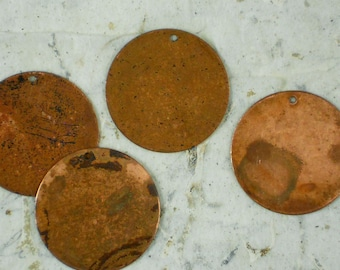5 Disc 25.5mm Copper Small Circle Tags Vintaj Altered Blanks Round - Emboss, Etch, Stamping  (V101)