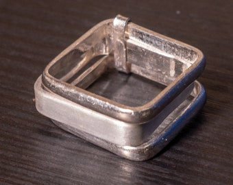 Stacked Square Ring, Sterling Silver