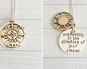 Graduation Jewelry, Go Confidently In The Direction of Your Dreams, Inspirational Jewelry, Hidden Message Necklace, 2018 Graduation Gift