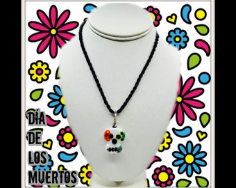 Sugar Skull Pendant Necklace black cord , Day of The Dead, All Souls Day, Mexican Folk Art, Sterling Silver, Swarovski Crystal, Nickel Free