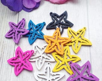 SET OF 10 WOODEN STARFISH CHARMS