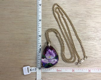 "Vintage 24"" Gold Toned Chain Purple Orchid Intaglio Necklace Used"