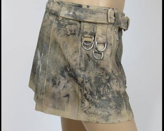 Apocalyptic LEATHER SKIRT Post Apocalyptic Skirt & Belt SUeDE LEATHER Skirt Size 12