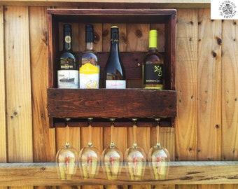 Rustic Wooden Wine Rack, Wall Mounted HANDMADE