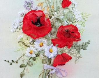 flower needlepoint  needlart red flower poppy fiber art embroidery ribbons daisies wild flowers herbs. made to order