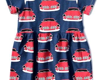 18-24m Car Print Dress, Girls Skater Dress, Bright Toddler Dress, Unisex Kids Clothes, Modern Baby Clothes, Skandi Kind Clothes, Bright Girl