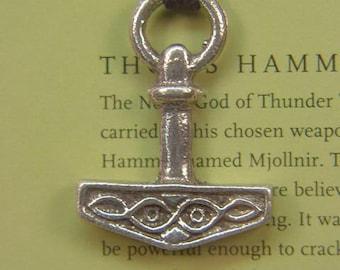 Thor's Hammer Necklace Pewter  Pendant Viking Mjollnir Norse Odin 6331