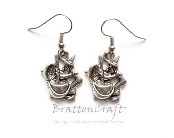 Witch Stirring Cauldron Earrings - Witch Earrings  - Witches Brew Earrings - Fun Halloween Earrings - Cauldron Earrings