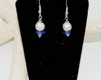 Blue Sea Glass Earrings, Earrings for Mom, Genuine Beach Glass Earrings, Lake Erie Beach Glass, Sea Glass Jewelry, Blue Pearl Earrings
