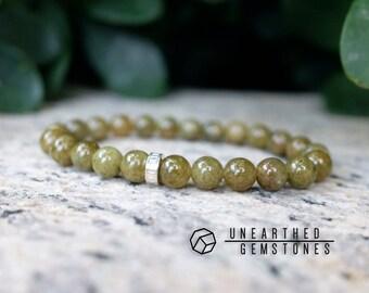 Grossular Garnet Bracelet - Green Garnet Jewelry, Green Gemstone, Simple Bracelet, Mens Bracelet, Gift Ideas, Green Bracelet