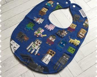 Minecraft Characters Baby Bib, Recycled T-Shirt Baby Bib, Video Games, Baby Boy Gift Baby Shower, Nerd Baby, Geek Baby