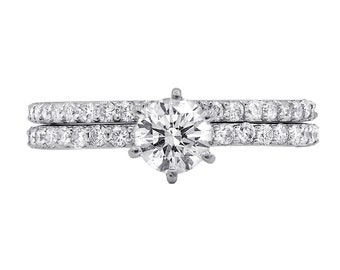 1.96 cts total bridal set with round diamonds