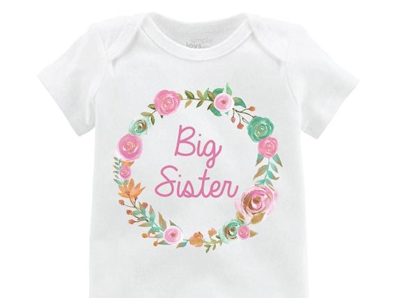 Big Sister Little Sister Shirt Mint Pink Gold Little Sister Onesie Floral Big Sister Floral Wreath Little Sister Baby Sister Shirts