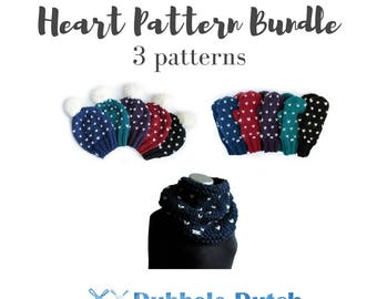 Knitting pattern bundle / 3 Heart Pattern Collection / Designed and published by Dubbele Dutch Crafts