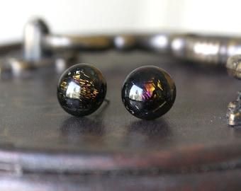 Steampunk Earring Posts - Black Brown Yellow Purple Dichroic Glass Stud Earrings, Handmade Hypoallergenic Surgical Steel Jewellery